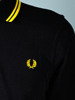 FRED PERRY Twin Tipped Poloshirt M3600 schwarz - gelb/gelb (black/yellow)